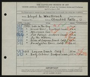Entry card for Westbrook, Lloyd L. for the 1928 May Show.