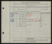 Entry card for Wolff, Arthur F. for the 1928 May Show.