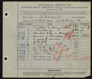 Entry card for Adomeit, George G. for the 1929 May Show.