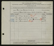 Entry card for Andersen, Betty for the 1929 May Show.