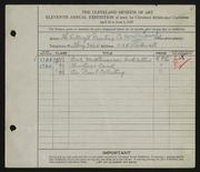 Entry card for Artcraft Printing Company, and Lamb, Harry J. for the 1929 May Show.