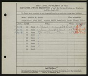 Entry card for Baggs, Arthur E. for the 1929 May Show.