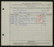 Entry card for Baker, F. C. for the 1929 May Show.