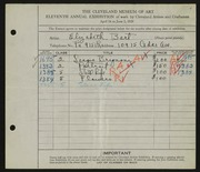 Entry card for Gerald, Elizabeth Bart for the 1929 May Show.