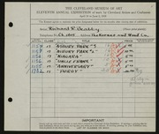 Entry card for Beatty, Richard R. for the 1929 May Show.