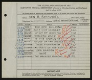 Entry card for Berkowitz, Benjamin B. for the 1929 May Show.