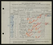 Entry card for Biehle, August F. for the 1929 May Show.