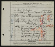 Entry card for Binder, Carl for the 1929 May Show.