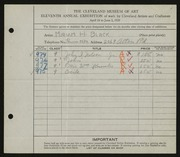 Entry card for Black, Miriam H. for the 1929 May Show.