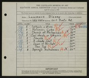 Entry card for Blazey, Lawrence for the 1929 May Show.