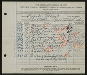 Entry card for Blazys, Alexander, and Cowan, Reginald Guy for the 1929 May Show.