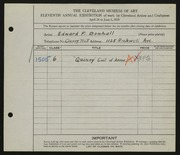 Entry card for Bouhall, Edward F. for the 1929 May Show.