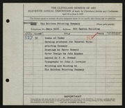 Entry card for Britton Printing Company, and Aldridge, Richard; Cramer, F. S.; Britton, George A.; Heise, K. O. for the 1929 May Show.