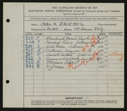 Entry card for Broemel, Carl William for the 1929 May Show.