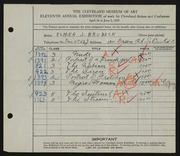 Entry card for Brubeck, Elmer J. for the 1929 May Show.