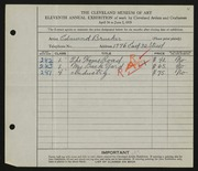 Entry card for Brucker, Edmund for the 1929 May Show.