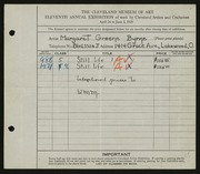 Entry card for Byrne, Margaret Greene for the 1929 May Show.