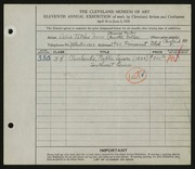 Entry card for Calico Patches Wares, and Doller, Annette; Fenton, Frances for the 1929 May Show.