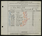 Entry card for Campbell, Charles M. for the 1929 May Show.