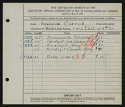 Entry card for Carroll, Adelaide for the 1929 May Show.