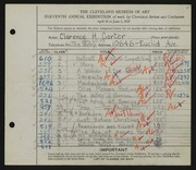 Entry card for Carter, Clarence Holbrook for the 1929 May Show.