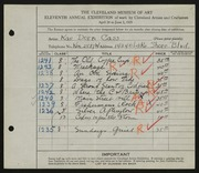 Entry card for Cass, Katherine Dorn for the 1929 May Show.