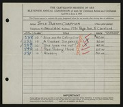 Entry card for Chapman, Joyce B. for the 1929 May Show.