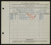 Entry card for Chudoba, Helen L. for the 1929 May Show.