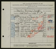 Entry card for Clough, Stanley T. for the 1929 May Show.