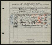 Entry card for Clough, Thomas for the 1929 May Show.