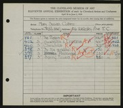 Entry card for Collins, Mary Susan for the 1929 May Show.