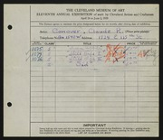 Entry card for Conover, Claude R. for the 1929 May Show.