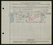 Entry card for Copeland, L. Harl for the 1929 May Show.