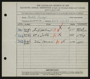 Entry card for Curry, Noble for the 1929 May Show.