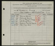 Entry card for Cuyler, W. Kenneth for the 1929 May Show.