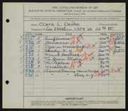 Entry card for Deike, Clara L. for the 1929 May Show.
