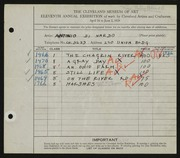 Entry card for Di Nardo, Antonio for the 1929 May Show.
