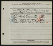 Entry card for Dohanos, Stevan for the 1929 May Show.