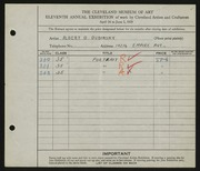 Entry card for Dubinsky, Albert D. for the 1929 May Show.