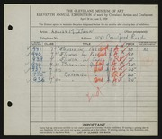 Entry card for Dunn, Louise Morrison for the 1929 May Show.