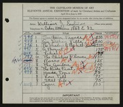 Entry card for Eastman, William Joseph for the 1929 May Show.