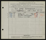 Entry card for Edmondson, Ivy Jane for the 1929 May Show.