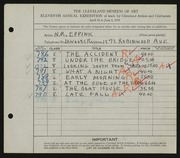Entry card for Eppink, Norman Roland for the 1929 May Show.