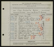 Entry card for Foltz, Cleo Arabella for the 1929 May Show.