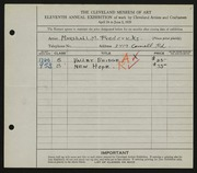 Entry card for Fredericks, Marshall Maynard for the 1929 May Show.