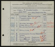 Entry card for Gaertner, Carl Frederick for the 1929 May Show.