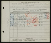 Entry card for Gellert, Emery for the 1929 May Show.