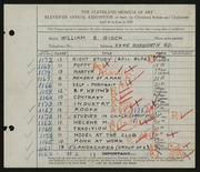 Entry card for Gisch, William S. for the 1929 May Show.