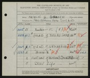 Entry card for Grauer, Natalie Eynon for the 1929 May Show.