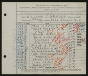 Entry card for Grauer, William C. for the 1929 May Show.